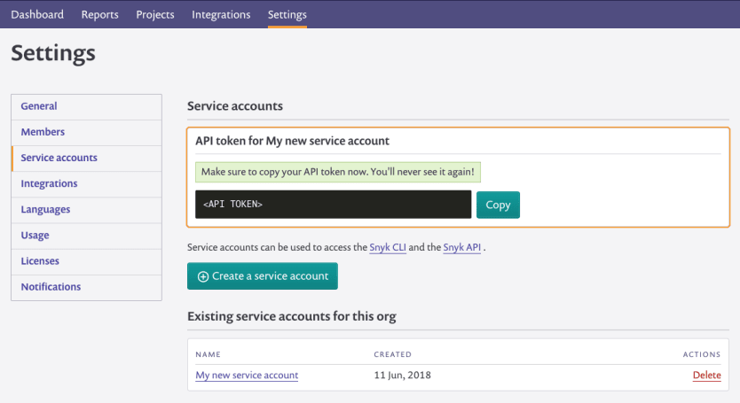 Screenshot of a service account token being generated
