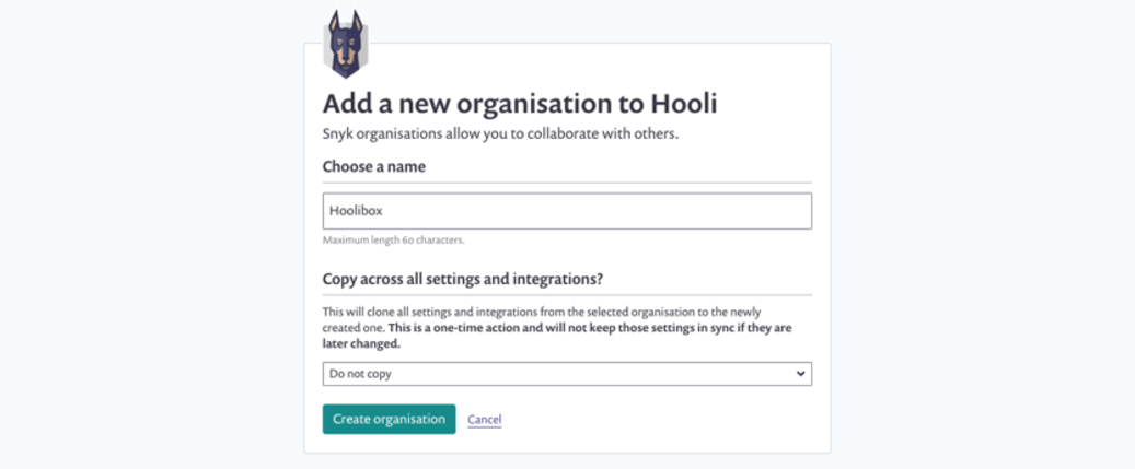 Creating a new grouped org screen.
