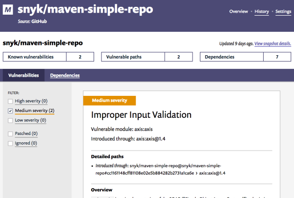 A screenshot of the new Snyk GitHub Maven integration