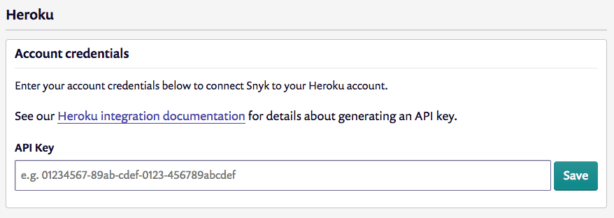 Screenshot of the form for entering your Heroku credentials