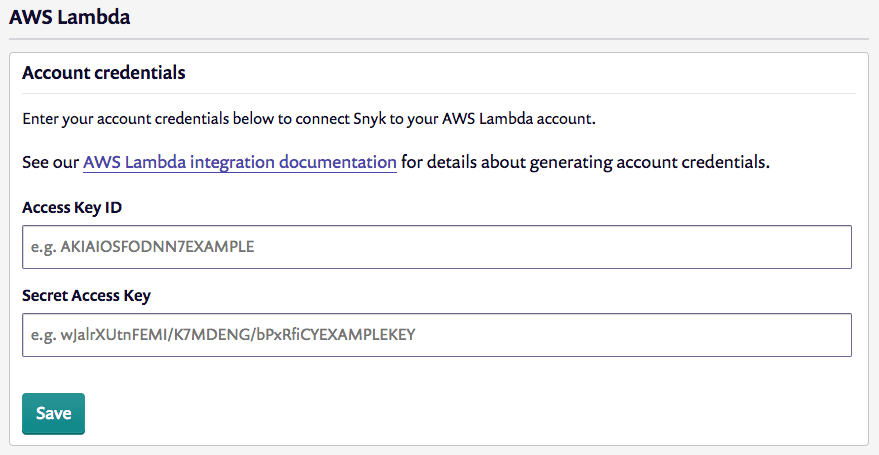 Screenshot of the form for entering your AWS Lambda credentials