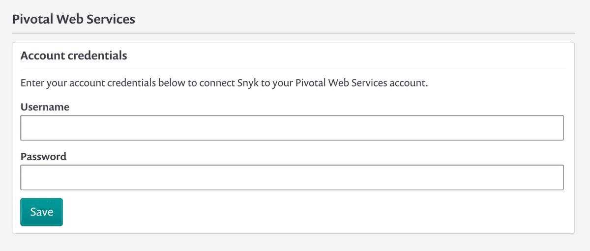 Screenshot of the form for entering your Pivotal Web Services credentials