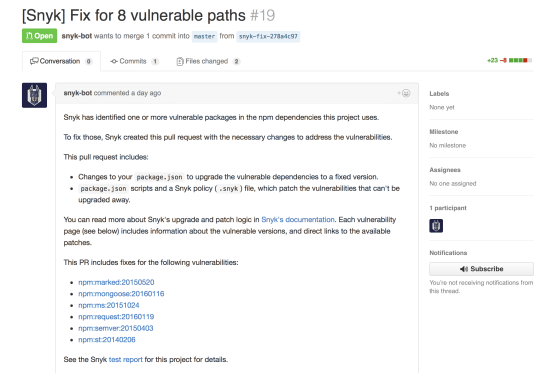 A screenshot of a GitHub Pull Request that fixes a vulnerability