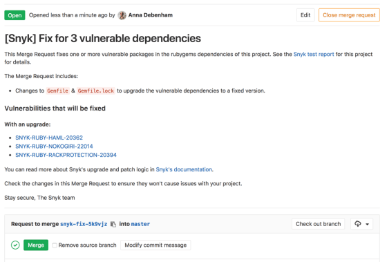 A screenshot of a GitLab Merge Request that fixes a vulnerability
