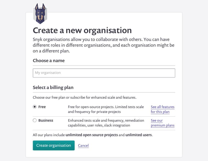 Create organisation