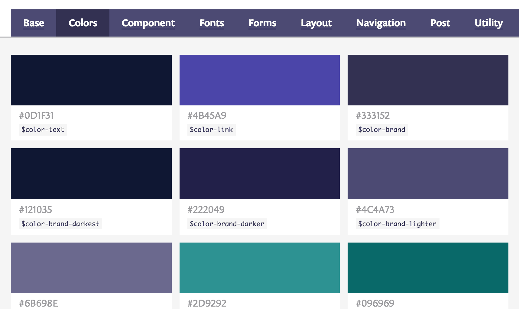 A screenshot of the colour swatches on the style guide