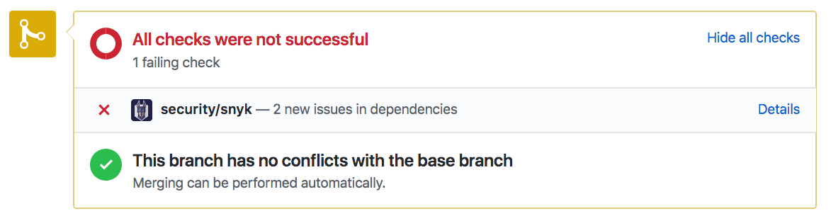 github snyk devsecops check fail the build pull request