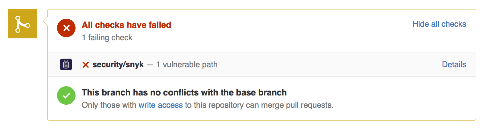 Flag vulnerable packages inside Pull Requests