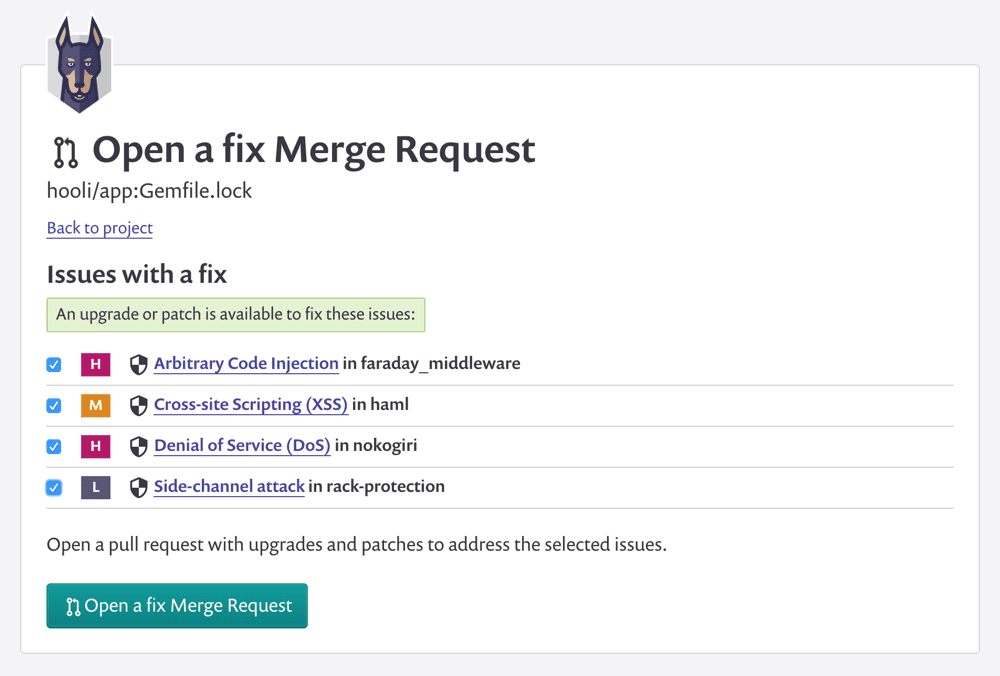 Snyk Open a fix merge request image