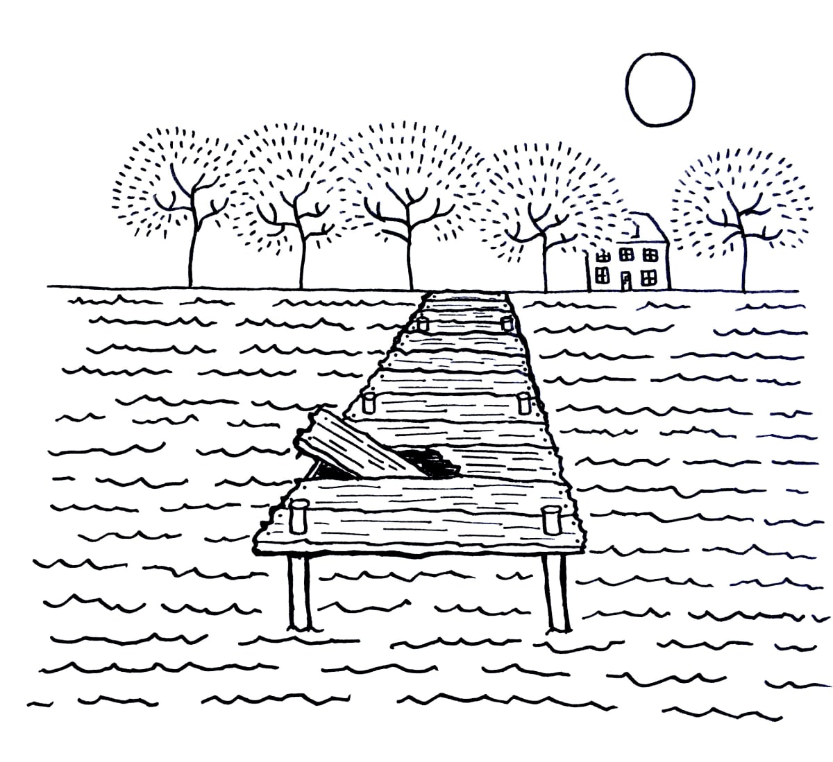 An illustration of a wooden dock with a broken board