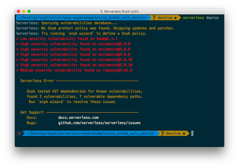 A screenshot of a terminal window showing the Serverless Snyk plugin running