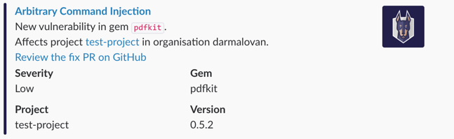 Slack Vulnerability Alert Ruby