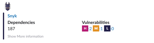 A screenshot of pkgbot reporting the number of vulnerabilities ina project