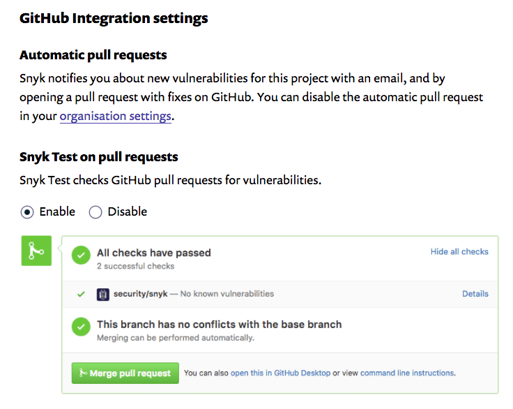 Snyk GitHub Integration on Voltos repos