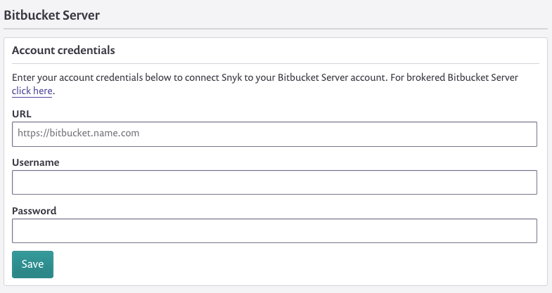 Screenshot of the form for entering your Bitbucket Server credentials