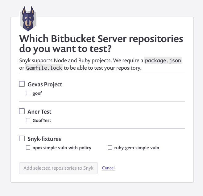 Screenshot of the screen displaying the available Bitbucket Server repositories to monitor
