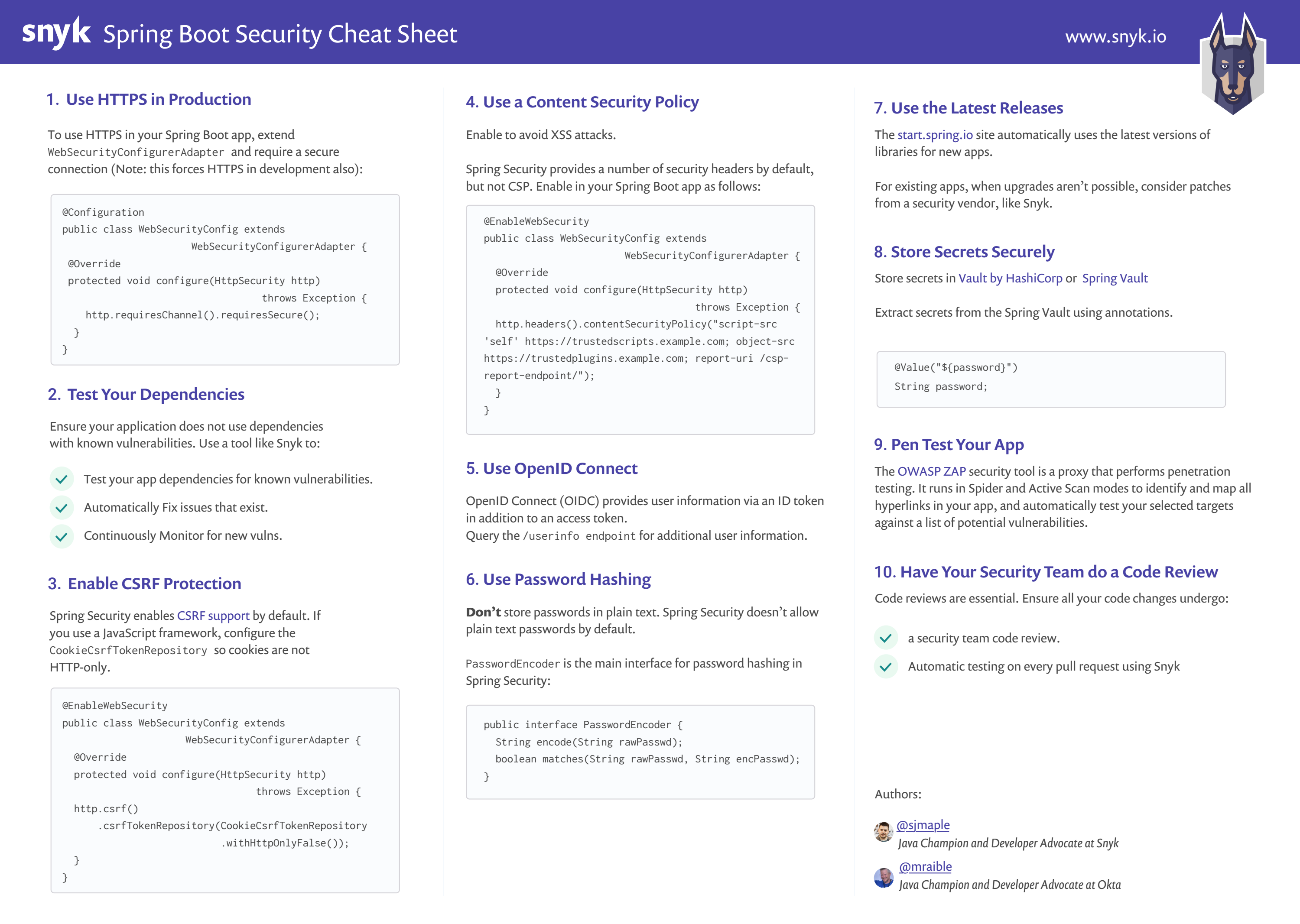 10 Spring Boot Security Best Practices Sheet