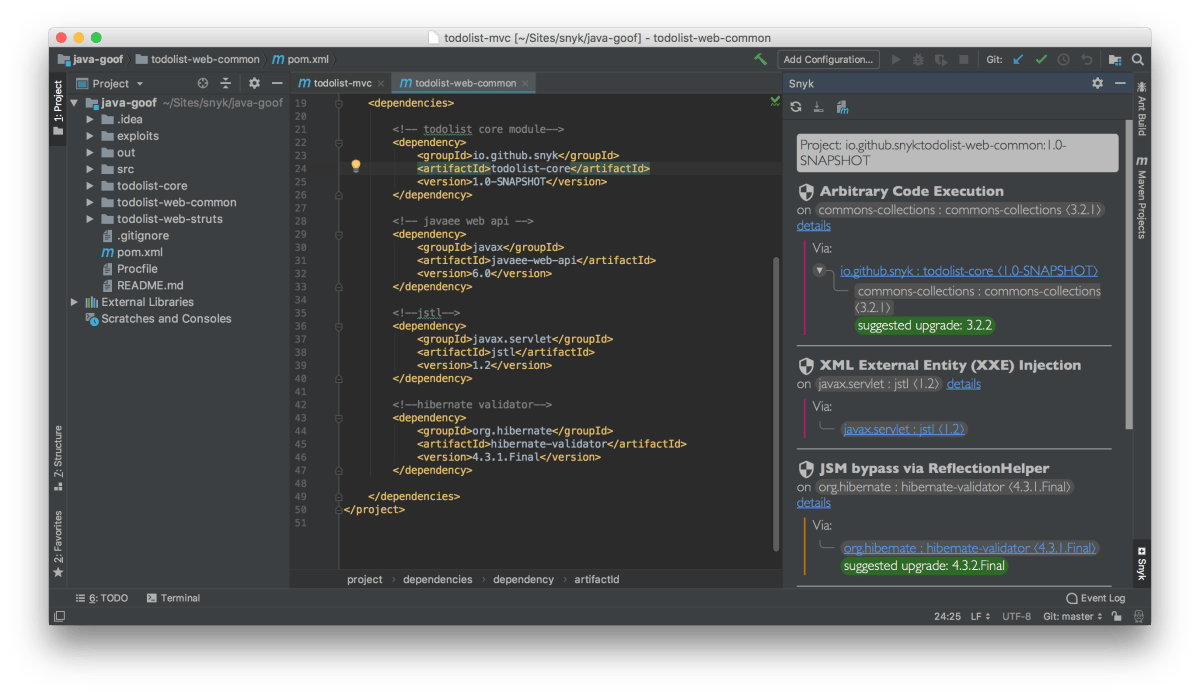 Screenshot of Snyk IntelliJ plugin
