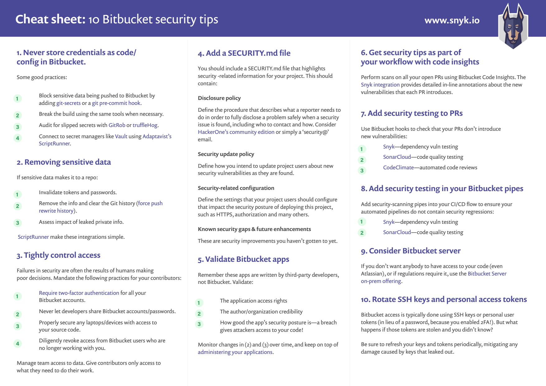Cheat sheet: 10 Bitbucket security best practices | Snyk