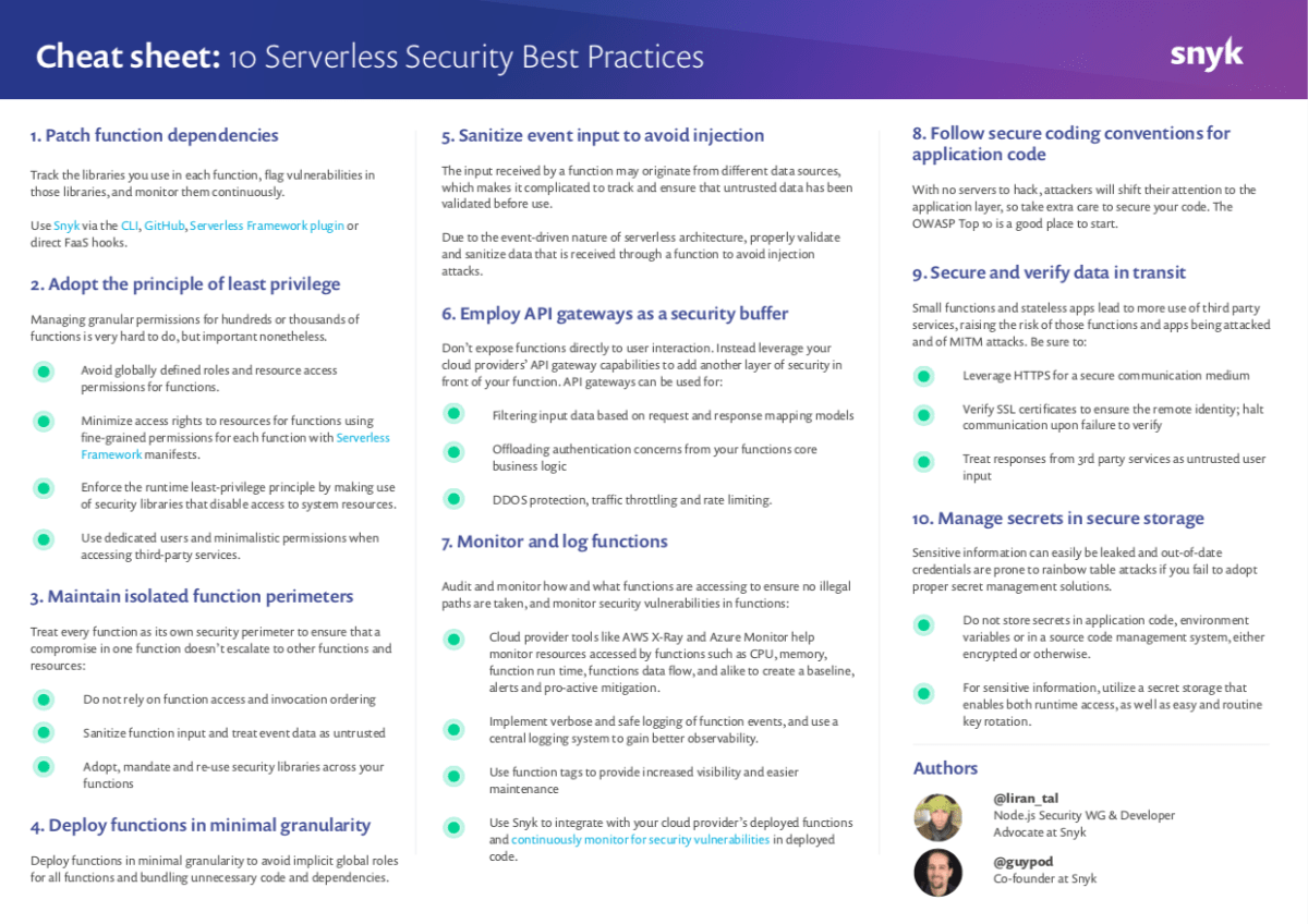 10 Serverless Security Best Practices for cloud functions