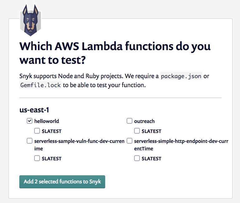 Screenshot of the screen displaying the available AWS Lambda apps to monitor
