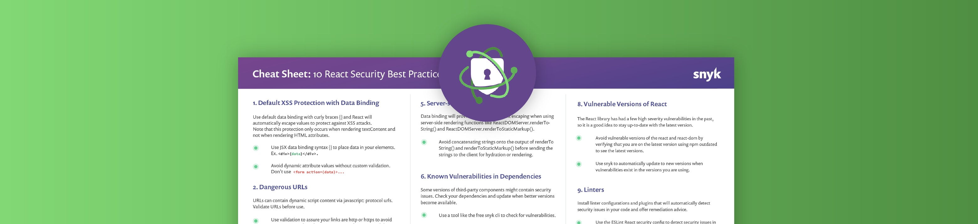 React security best practices