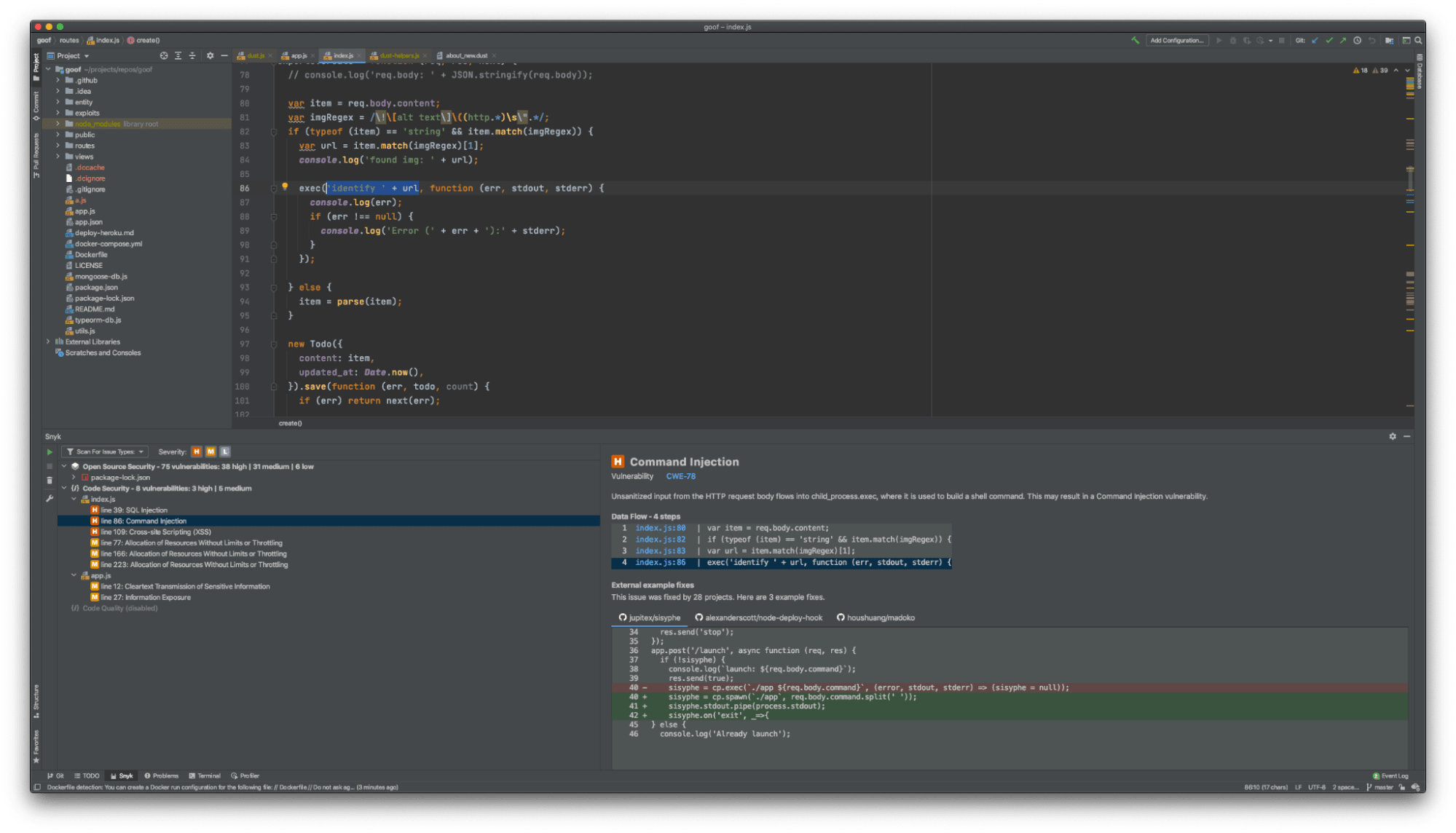 Snyk Code integrates into your IDE to find vulnerabilities and suggest fixes