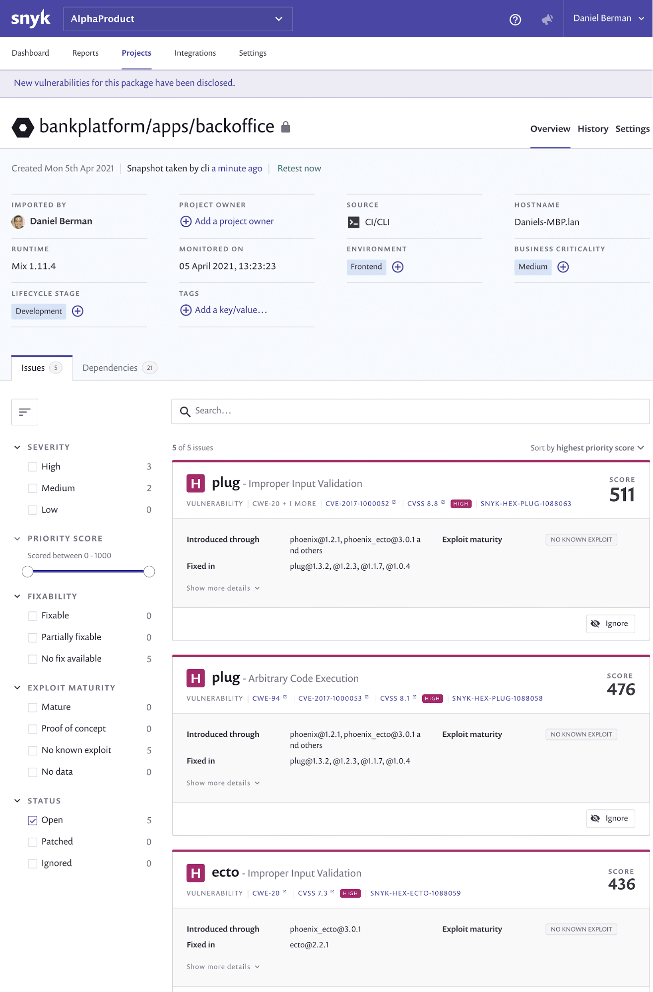 Review the results of vulnerability scans on the Projects page