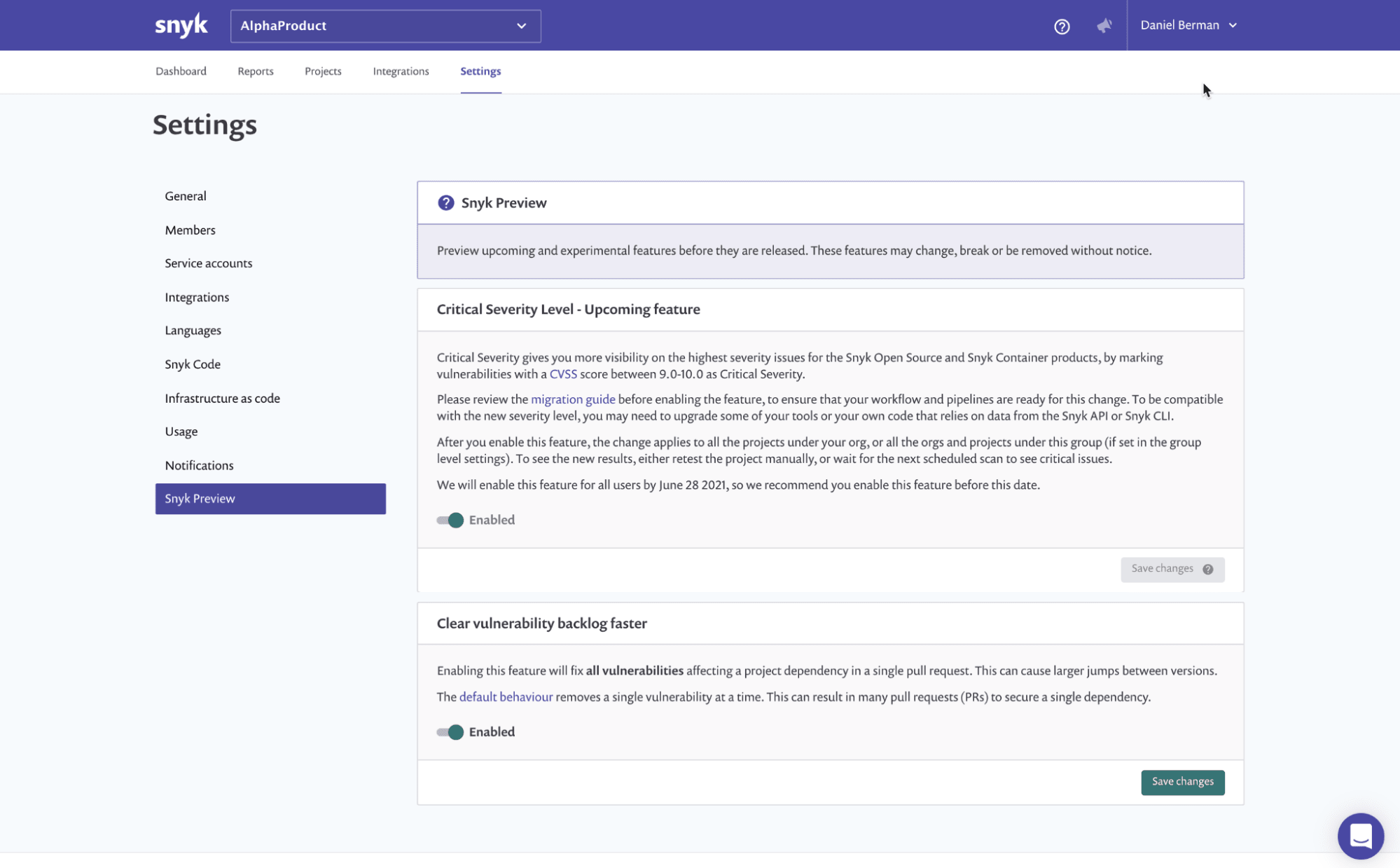 Snyk Preview is a new way for our users to easily get a first taste of upcoming features before they are generally available within the platform