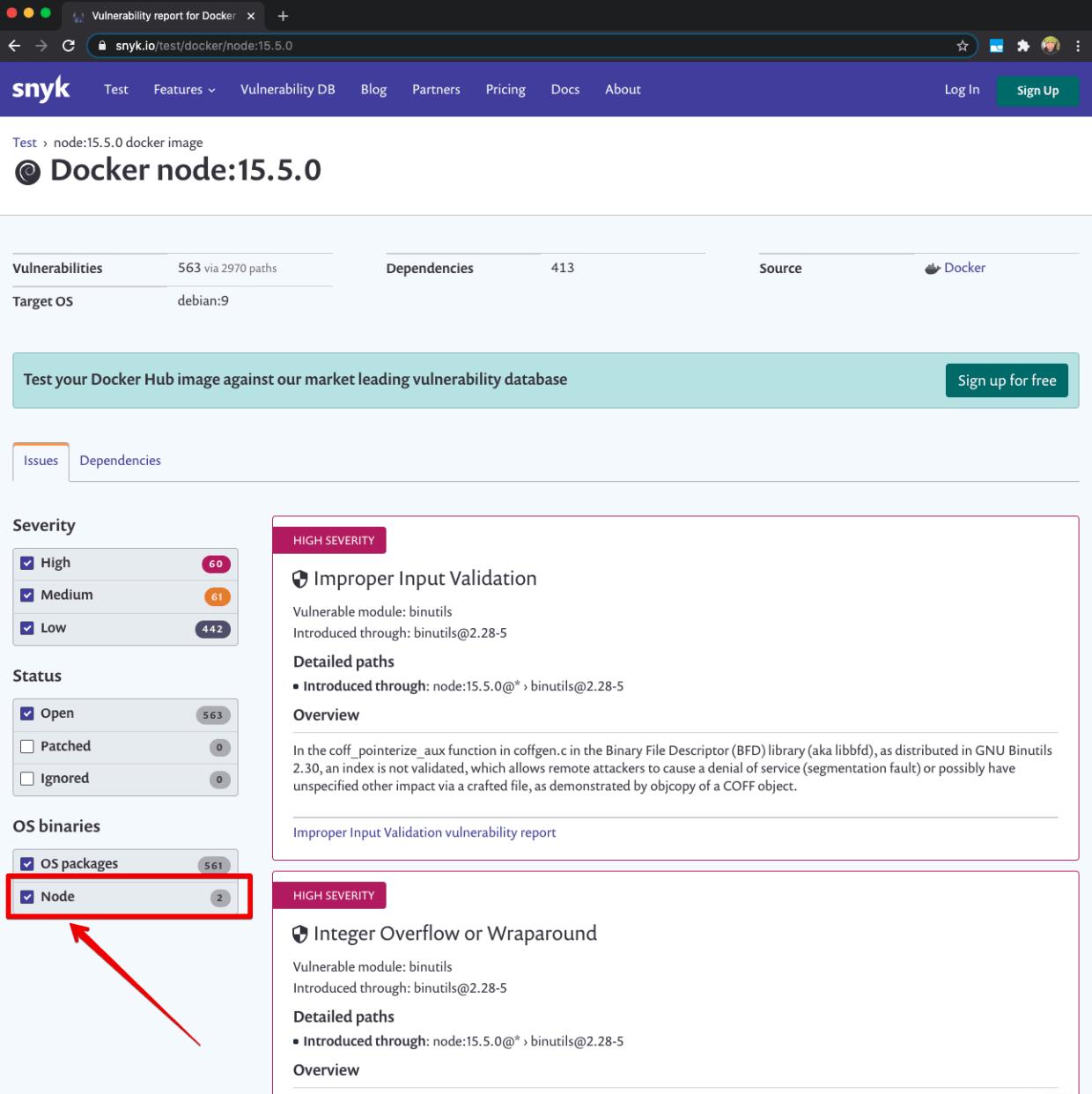Docker security scan results for Node.js version 15 base image