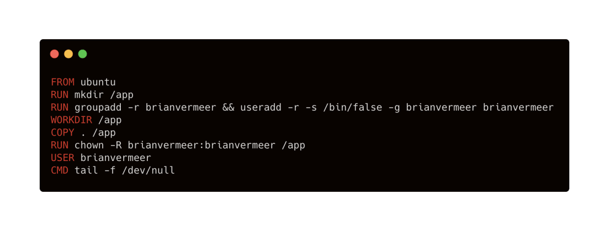 create a least-privileged user for Docker java image