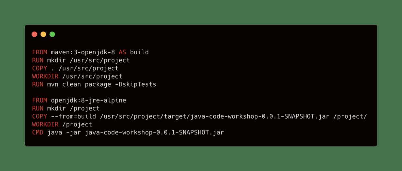 multistage Docker image build for Java