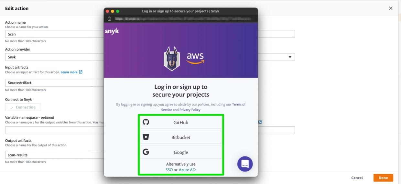 Snyk scans for vulnerabilities in your open source code in AWS CodePipeline