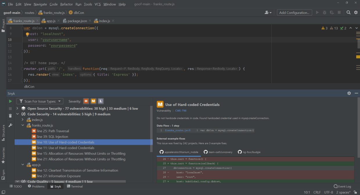 Snyk Code works directly from your IDE