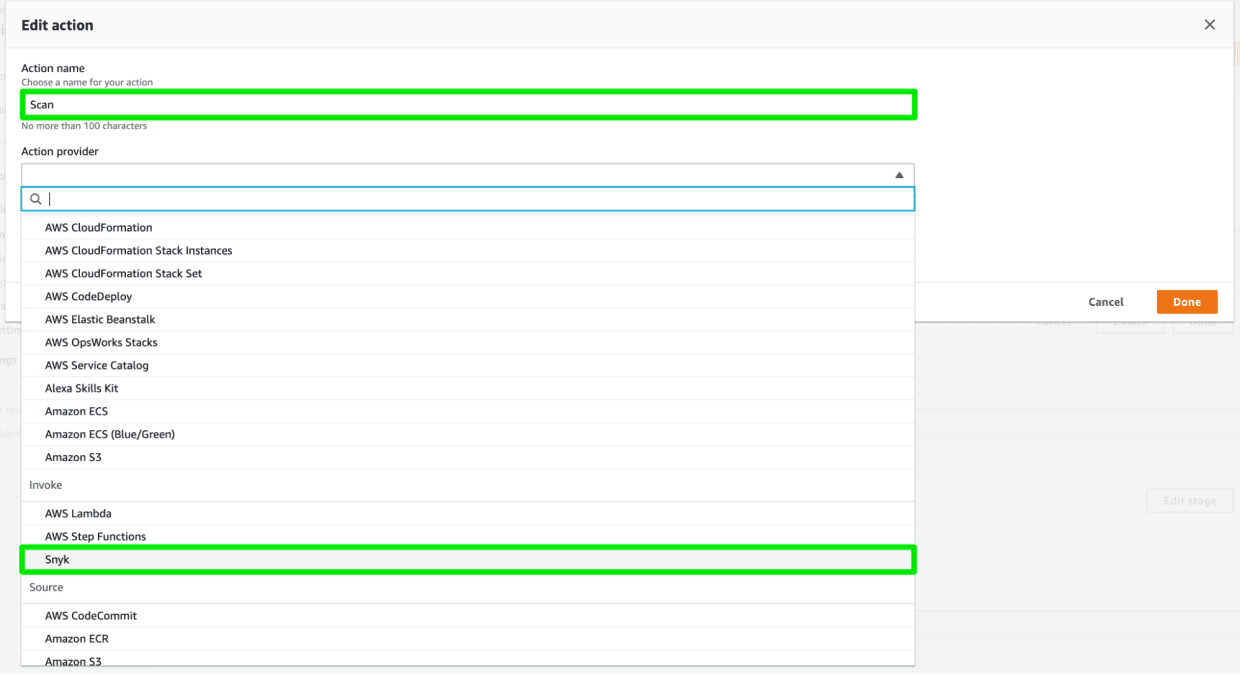 Snyk is now available in the Action Provider pulldown list of AWS CodePipeline.
