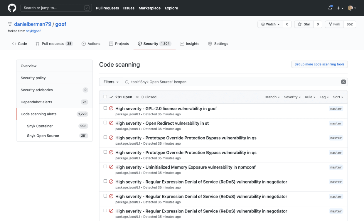 GitHub Security Code Scanning with Snyk