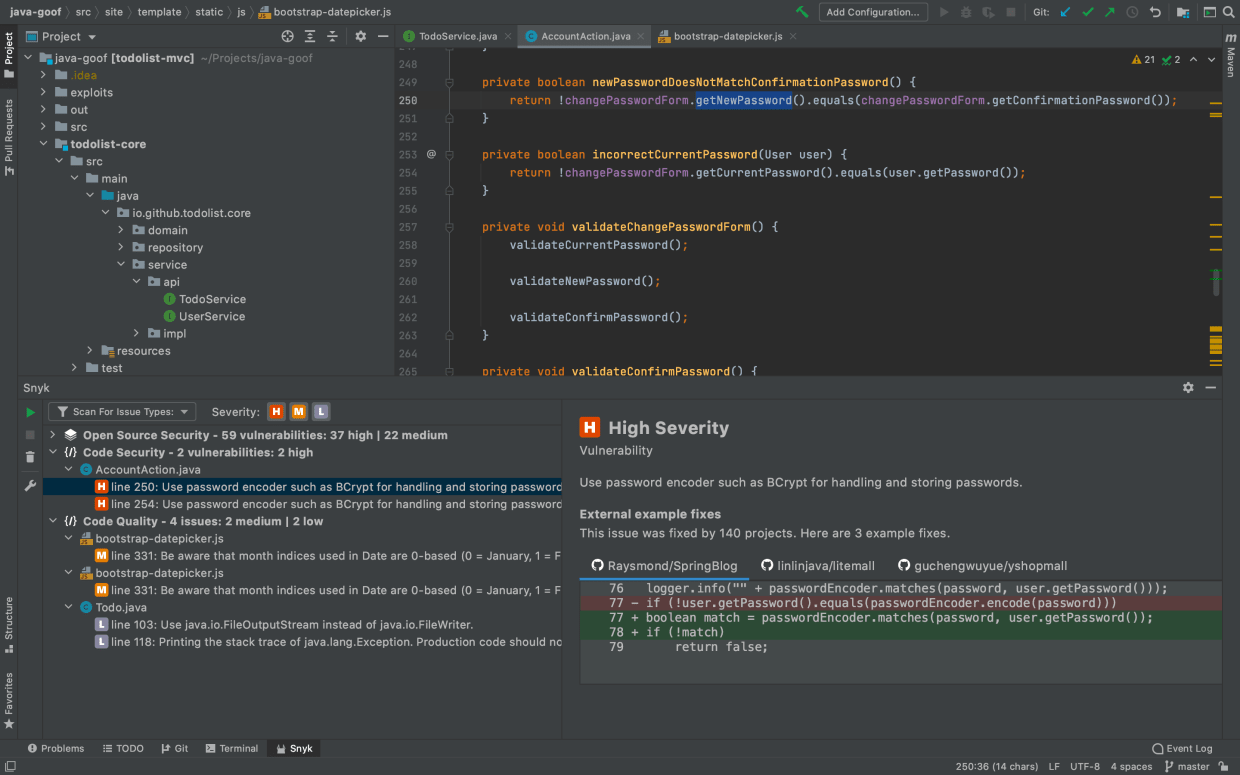 Secure coding in JetBrains IntelliJ IDE plugin