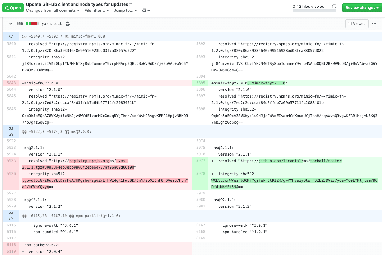 yarn lockfile shows injection of malicious npm module
