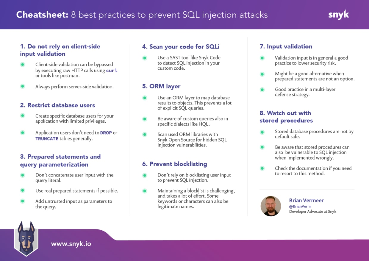 SQL injection cheat sheet one pager