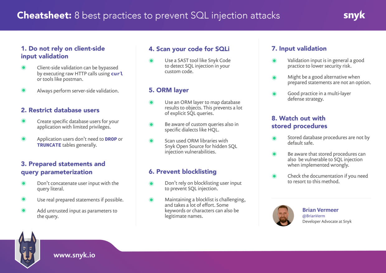 SQL injection prevention cheat sheet one pager.