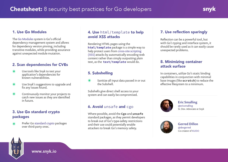 Go security cheatsheet: 8 security best practices for Go developers