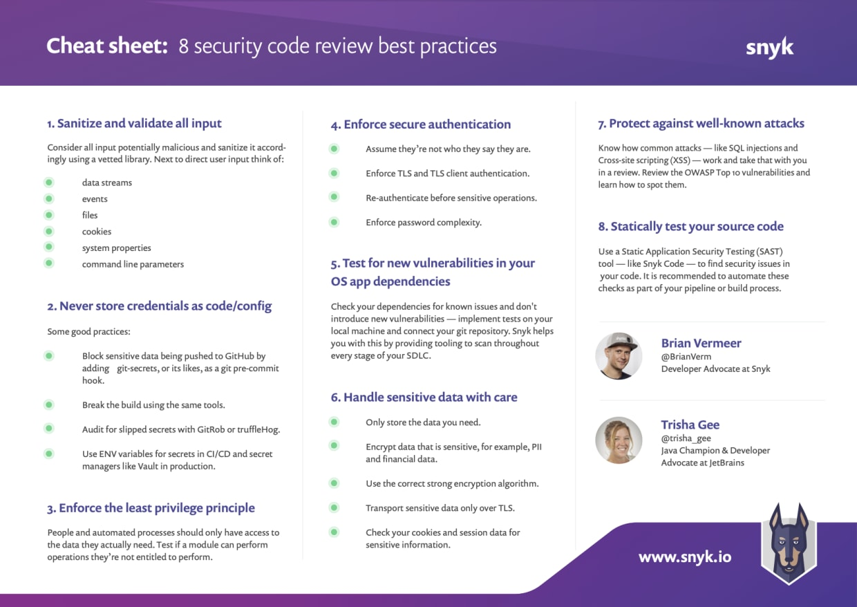 Secure code review: 8 security code review best practices cheat sheet