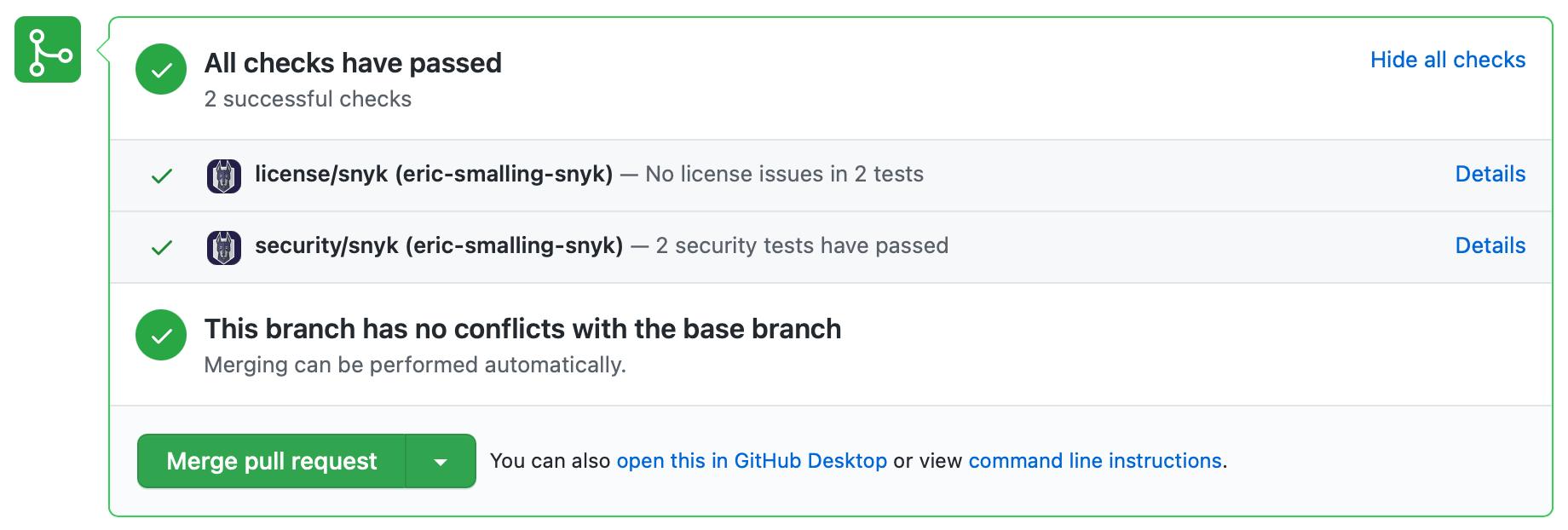 Screenshot of pull request automated scanning review tests