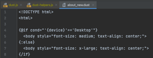 Configure your own dust template