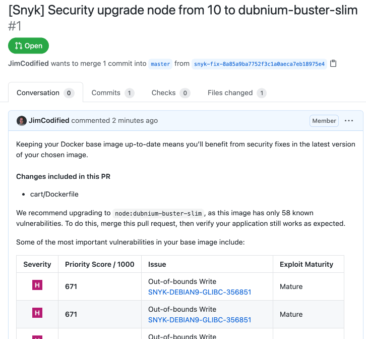 Container security fix pull request