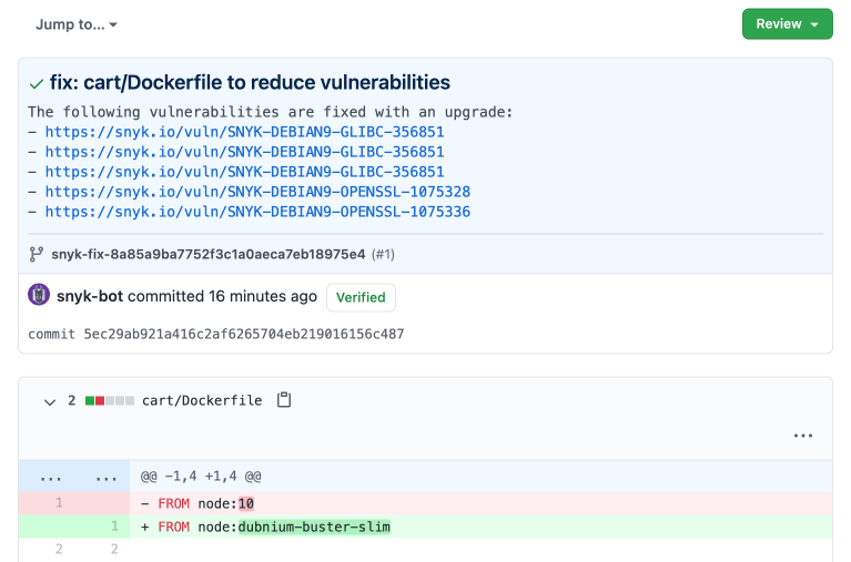Container security fix details reviewed in GitHub