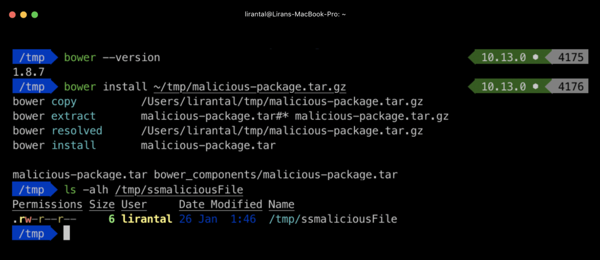 Bower package manager extracting malicious zip archive
