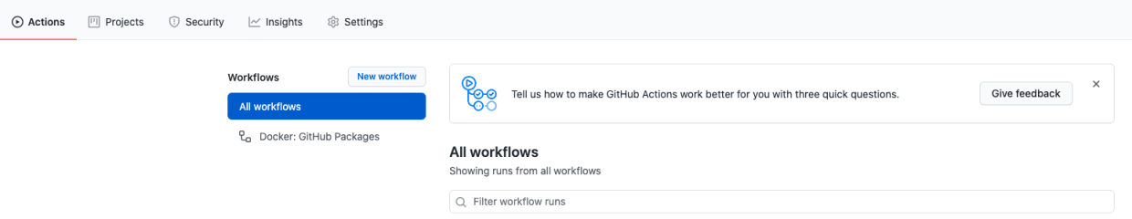 A GitHub Actions workflow status