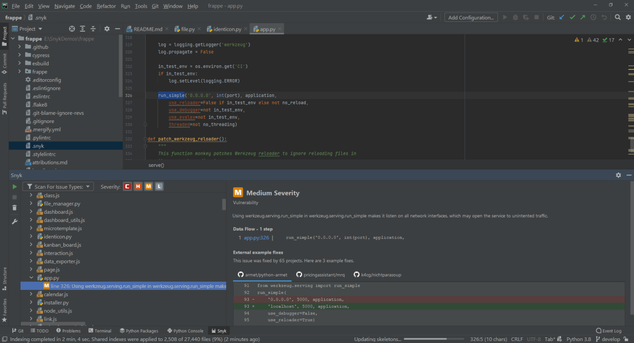Secure your Python code directly within your IDE using Snyk Code